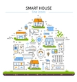 Smart House Flat Colored Icon Set vector image