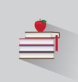 symbol stack of books and red apple vector image
