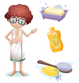A boy with a soap shampoo brush and sponge vector image vector image