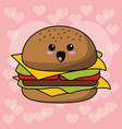 kawaii burger funny image vector image
