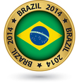 Brazil 2014 football world cup gold label vector image