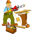 Carpenter and toolbox vector image vector image