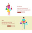 male and female with colorful shopping bags vector image
