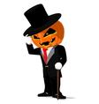 Pumpkin in black tuxedo vector image