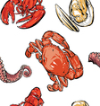 Seafood pattern hand drawing clip art vector image