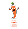 funny cartoon orange carrot isolated vector image