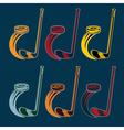 set of hockey sports emblems vector image