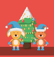 christmas pets design vector image