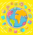 colorful of planet Earth on yellow backgroun vector image