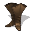 Leather high brown boots on a white background vector image