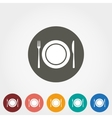 Plate fork and knife icons vector image