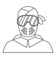 Paintball player in protective mask icon vector image