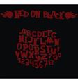 Stylish dark alphabet in dark red on black vector image