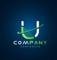 Alphabet letter U swoosh logo icon design vector image