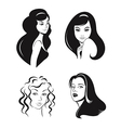 Woman faces set vector image vector image