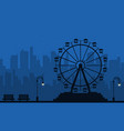 at night amusement scenery silhouette vector image