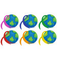 planet earth and different color ribbons vector image vector image