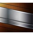 Metallic banner on wooden background vector image vector image