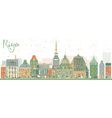 Abstract Riga Skyline with Color Landmarks vector image