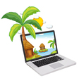 Laptop Display Tropical Islands vector image vector image