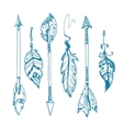 American indians feather arrows set old vector image