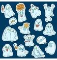 Halloween set of stickers ghosts vector image