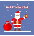 New Year Santa claus with gift box and bag on vector image