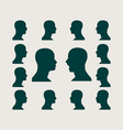 silhouettes collection of a mans head vector image