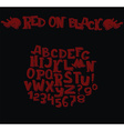 Stylish dark alphabet in dark red on black vector image