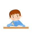 Schoolchild writes in a notebook vector image