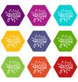 kaboom explosion icon set color hexahedron vector image