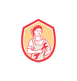 Female Mechanic Spanner Shield Retro vector image