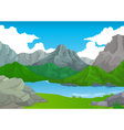 beauty mountain with lake landscape background vector image