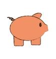 drawing pink piggy save money bank vector image