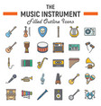 music instruments filled outline icon set vector image