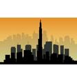 Silhouette of big Dubai city vector image