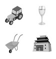 tractor glass and other monochrome icon in vector image