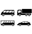 vehicle bus truck and car transport set vector image