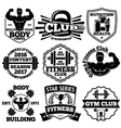 Bodybuilding set of badges labels with - vector image