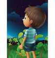 A boy gazing at the sky vector image