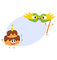 smiling birthday party characters - mask and vector image