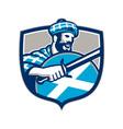 Highlander Scotsman Sword Shield Retro vector image