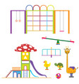 kids playground set color design on white vector image