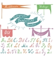 Set of calligraphic handdrawn font and banners vector image vector image
