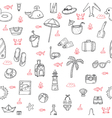 Cute hand drawn summer theme seamless pattern vector image