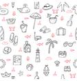Cute hand drawn summer theme seamless pattern vector image