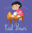 girl power kids postcard template vector image