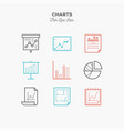 graphics charts infographic and more thin line vector image