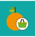 green basket fresh orange design icon vector image