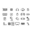 set of computers and accessories in linear style vector image
